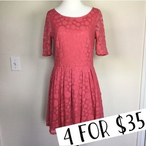 Lauren Conrad pink polka dot dress size 6